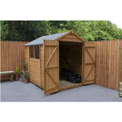 INSTALLED 8ft x 6ft Overlap Apex Wooden Garden Shed With 2 Windows And Double Doors (2.4m x 1.9m) - INCLUDES INSTALLATION