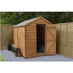 INSTALLED 8ft x 6ft Overlap Apex Wooden Garden Security Shed Windowless (2.4m x 1.9m) - INCLUDES INSTALLATION