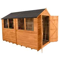 10ft x 6ft Overlap Apex Wooden Garden Security Shed + 4 Windows (3.2m x 1.9m)