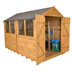 INSTALLED 10 x 8 Overlap Apex Wooden Garden Shed + Double Doors + 4 Windows (3.1m x 2.6m) - INCLUDES INSTALLATION