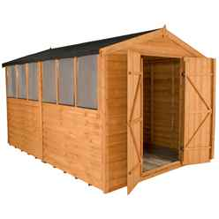 INSTALLED 12ft x 8ft Overlap Apex Wooden Garden Shed With 6 Windows And Double Doors (3.7m x 2.6m) - INCLUDES INSTALLATION