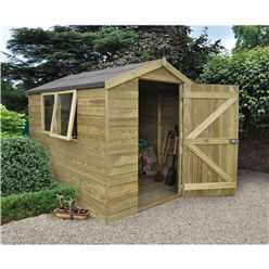 INSTALLED 8ft x 6ft Pressure Treated Tongue And Groove Apex Shed (2.5m x 2.1m) - INCLUDES INSTALLATION