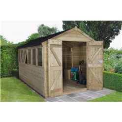 12 x 8 Tongue and Groove Pressure Treated Apex Shed - Installed