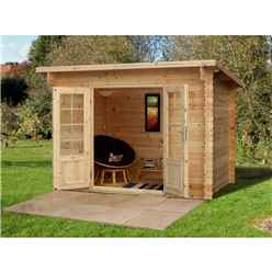3.0m x 2.0m Pent Log Cabin (Single Glazing) + 28mm Machined Logs - INSTALLED **Includes Free Shingles**