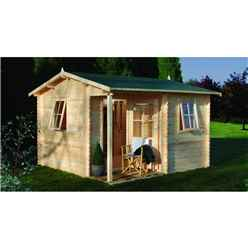 3.6m x 3.6m Apex Log Cabin (Single Glazing) + 28mm Machined Logs - INSTALLED **Includes Free Shingles**