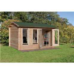 4.0m x 3.0m Reverse Apex Log Cabin (double Glazing) + 34mm Machined Logs - Installed **includes Free Shingles**