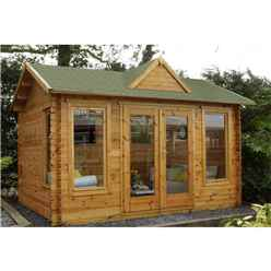 4.0m x 3.0m Apex Log Cabin With Dormer Roof (double Glazing) + 34mm Machined Logs - Installed **includes Free Shingles**