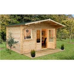 4.0m x 4.0m Classic Apex Log Cabin (Double Glazing) + 34mm Machined Logs - INSTALLED **Includes Free Shingles**