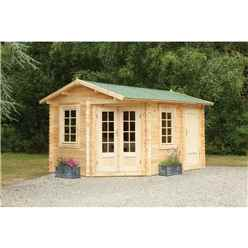 4.0m X 2.8m Corner Apex Log Cabin (double Glazing) + 34mm Machined Logs **includes Free Shingles** - Door Right