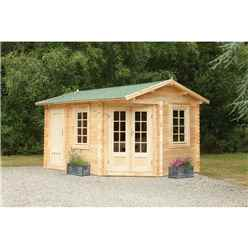 4.0m x 2.8m Corner Apex Log Cabin (Double Glazing) + 34mm Machined Logs - Installed **includes Free Shingles** - Door Left