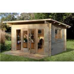 4.0m x 3.0m Contemporary Pent Log Cabin (Double Glazing) + 44mm Machined Logs - INSTALLED **Includes Free Shingles**