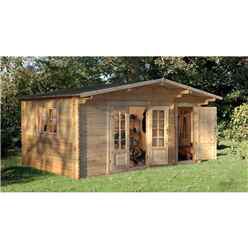 4.5m X 3.5m Utitlity Storage Apex Log Cabin (single  Glazing) + 34mm Machined Logs - Installed **includes Free Shingles**