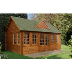 5.5m x 4.5m Apex Log Cabin with 8 Windows (Double Glazing) + 44mm Machined Logs - INSTALLED **Includes Free Shingles**