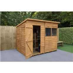 8 X 6 Dip Treated Pent Overlap Shed - Installed