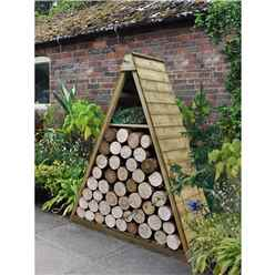 4.8ft x 2.1ft Pressure Treated Triangular Log Store (1.5m x 0.7m)