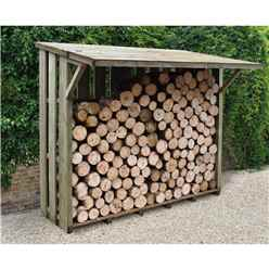 7ft x 3.8ft Large Pressure Treated Log Store - With Folding Roof (212cm x 117cm)