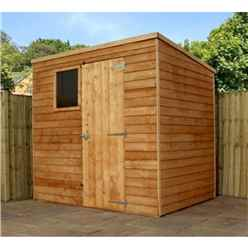 INSTALLED 7 x 5 Overlap Pent Shed With Single Door + 1 Window (10mm Solid OSB Floor) - INCLUDES INSTALLATION