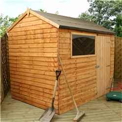INSTALLED 6 x 8 Reverse Overlap Apex Shed With Single Door + 1 Window (10mm Solid OSB Floor) - INCLUDES INSTALLATION