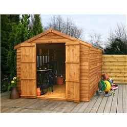 INSTALLED 12 x 8 Windowless Overlap Apex Shed With Double Doors (10mm Solid OSB Floor) - INCLUDES INSTALLATION