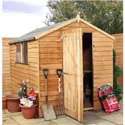 INSTALLED 8 x 6 Overlap Apex Shed With Single Door + 2 Windows (Solid 10mm OSB Floor) - INCLUDES INSTALLATION