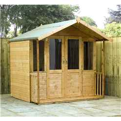 INSTALLED 7 x 7 Devon Summerhouse (1/2 Styrene Glazed Doors) - INCLUDES INSTALLATION