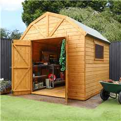 INSTALLED 8 x 8 Deluxe Tongue and Groove Dutch Barn With Double Doors + 2 Windows (12mm Tongue and Groove Floor and Roof) - INCLUDES INSTALLATION