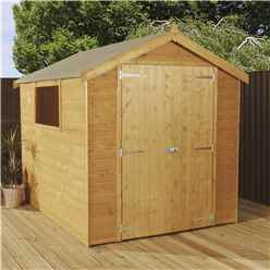 INSTALLED 8 x 6  Premier Tongue and Groove Apex Shed With Double Doors + 1 Window (12mm Tongue and Groove Floor and Roof) - INCLUDES INSTALLATION