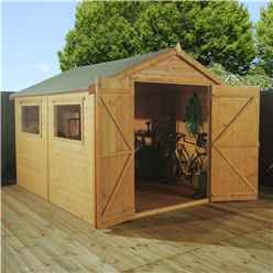 INSTALLED 10 x 6 Premier Tongue and Groove Apex Shed With Double Doors + 2 Windows (12mm Tongue and Groove Floor and Roof) - INCLUDES INSTALLATION