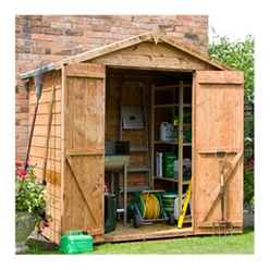 INSTALLED 4 x 6 Tongue and Groove Windowless Apex Shed With Double Doors (10mm Solid OSB Floor) - INCLUDES INSTALLATION