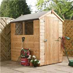 INSTALLED 6 x 4 Tongue and Groove Apex Shed With Single Door + 2 Windows (10mm Solid OSB Floor) - INCLUDES INSTALLATION