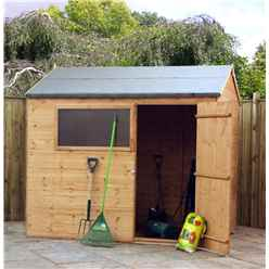 INSTALLED 6 x 8 Tongue And Groove Reverse Apex Shed With Single Door + 1 Window (10mm Solid OSB Floor) - INCLUDES INSTALLATION