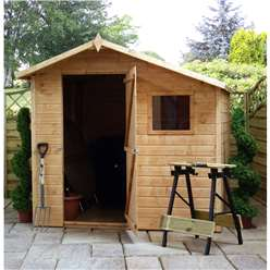 INSTALLED 7 x 7 Tongue And Groove Offset Apex Shed With Single Door + 1 Window (10mm Solid OSB Floor) - INCLUDES INSTALLATION