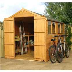 INSTALLED 10 x 6 Tongue and Groove Apex Shed With Double Doors + 4 Windows (10mm Solid OSB Floor) - INCLUDES INSTALLATION
