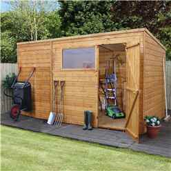 INSTALLED 12 x 8 Tongue and Groove Pent Shed With Single Door + 1 Window (10mm Solid OSB Floor) - INCLUDES INSTALLATION