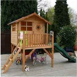INSTALLED 5 x 7 Wooden Tower Playhouse and Slide - INCLUDES INSTALLATION