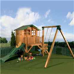 INSTALLED 5 x 7 Wooden Tower Playhouse, with Slide and Swing - INCLUDES INSTALLATION