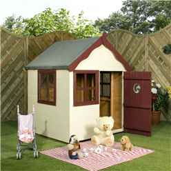 INSTALLED 4 x 4  Wooden Playhouse with Apex Roof, Single Door and Windows - INCLUDES INSTALLATION