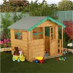 INSTALLED 5 x 5 Wooden Playhouse with Overhang Roof - INCLUDES INSTALLATION