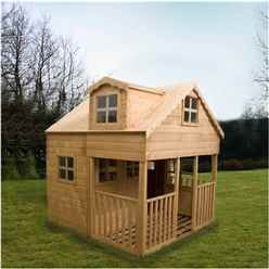 INSTALLED 7 x 7 Wooden Playhouse - Two Storey with Veranda - INCLUDES INSTALLATION