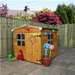 INSTALLED 4 x 4 Wooden Tongue & Groove Playhouse (Solid OSB Floor) - INCLUDES INSTALLATION