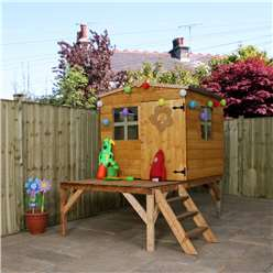 INSTALLED 6 x 5 Wooden Tongue & Groove Tower Playhouse (Solid OSB Floor) - INCLUDES INSTALLATION
