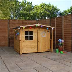 INSTALLED 5 x 5 Wooden Tongue & Groove Playhouse (Solid OSB Floor) + Overhang - INCLUDES INSTALLATION