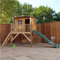 INSTALLED 13 x 7 Wooden Togue and Groove Playhouse Tower With Slide  (Solid OSB Floor) + Overhang - INCLUDES INSTALLATION