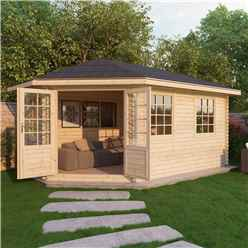 INSTALLED 5m x 3m Extended Corner Log Cabin (Single Glazing) + Free Floor & Felt & Safety Glass (28mm) - Left Door - INCLUDES INSTALLATION