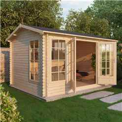 INSTALLED 4.5m x 3.5m Apex Log Cabin (Single Glazing) + Free Floor & Felt & Safety Glass (34mm) - INCLUDES INSTALLATION