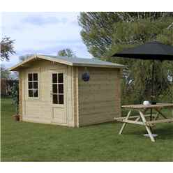 INSTALLED 3m x 2.4m Apex Log Cabin (Double Glazing) + Free Floor & Felt & Safety Glass (34mm) - INCLUDES INSTALLATION