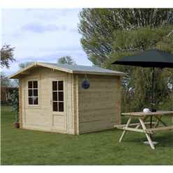 INSTALLED 3m x 2.4m Apex Log Cabin (Double Glazing) + Free Floor & Felt & Safety Glass (44mm) - INCLUDES INSTALLATION