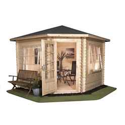 INSTALLED 3m x 3m Corner Log Cabin (Single Glazing) + Free Floor & Felt & Safety Glass (44mm) - INCLUDES INSTALLATION
