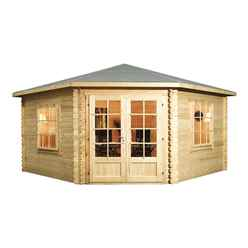 INSTALLED 4m x 4m Corner Log Cabin (Double Glazing) with Large Windows + Free Floor & Felt & Safety Glass (34mm Tongue and Groove) - INCLUDES INSTALLATION