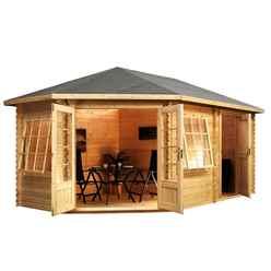 INSTALLED 5m x 3m (17 x 10) Corner Log Cabin (Double Glazing) + Free Floor & Felt & Safety Glass (44mm) ***LEFT - INCLUDES INSTALLATION